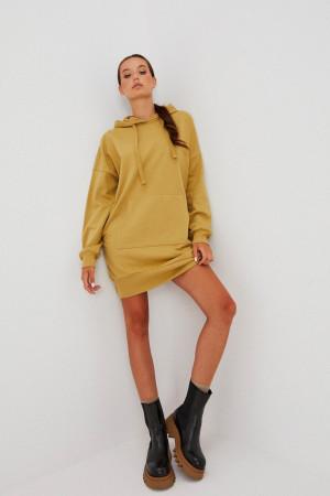 Moodo hořčicové mikinové šaty