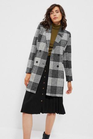 Moodo šedý kostkovaný kabát