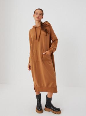 Moodo hnědé midi mikinové šaty