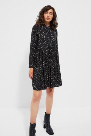 Moodo černé košilové puntíkované šaty