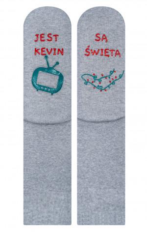 Pánské froté ponožky se životními instrukcemi Soxo Sváteční, Vánoční žíhaná šedá 40-45