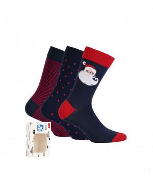 Pánské sváteční vánoční ponožky Wola W94.P55 A'3 zelenomodrá 45-47