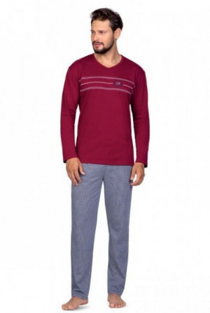 Regina 588 Pánské pyžamo plus size XXL bordová