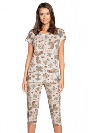 Italian Fashion Irem kr.r. k.3/4 Dámské pyžamo M tisk/béžová