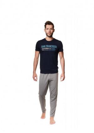 Pánské pyžamo Henderson 39245 2XL Tm. modrá