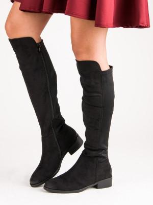 Luxusní dámské černé  kozačky na plochém podpatku