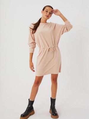 Moodo pudrové mikinové šaty