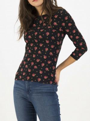 Blutsgeschwister černé dámské tričko Oh Marine s květinovým motivem