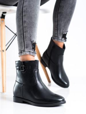 Originální  kotníčkové boty dámské černé na klínku
