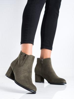 Luxusní dámské zelené  kotníčkové boty na širokém podpatku