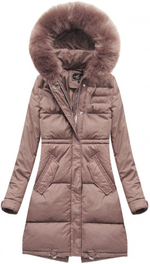 Růžová dlouhá dámská zimní bunda (7752) różowy S (36)