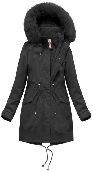 Černá dámská zimní bunda s vsadkou (7600BIG) czarny