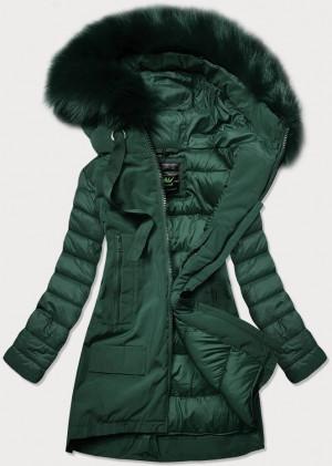 Tmavě zelená dámská zimní bunda ze spojených materiálů (7708) zielony S (36)
