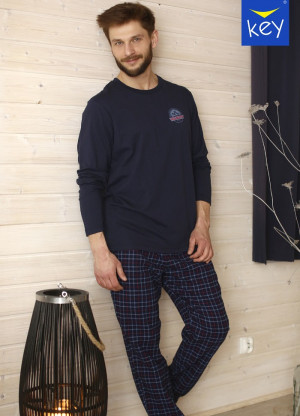 Pánské pyžamo Key MNS 745 B21 M-2XL námořnická modrá
