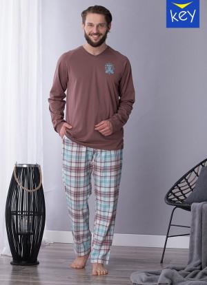 Pánské pyžamo Key MNS 450 B21 M-2XL brązowy-kratka