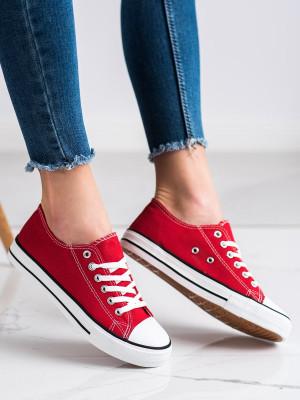 Exkluzívní dámské  tenisky červené bez podpatku