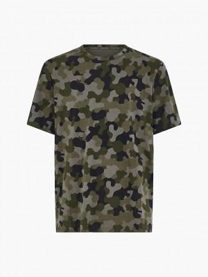 Pánské tričko Lounge - NM2192E - UY4 - Vojenský vzor - Calvin Klein zelená vzor