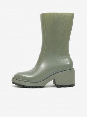 Melissa zelené kotníkové boty na podpatku Nancy Boot -