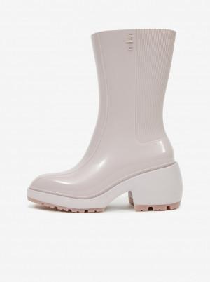 Melissa krémové kotníkové boty na podpatku Nancy Boots -