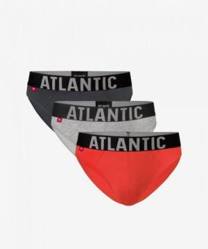 Atlantic 3SMP-003 khaki/šedé/oranžové Pánské slipy 3 ks XXL vícebarevná