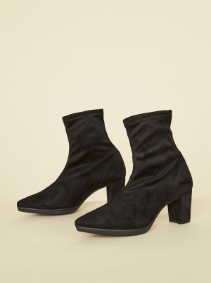 OJJU černé semišové kotníkové boty -