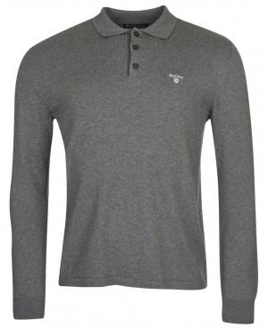Polo s dlouhým rukávem z bavlny a kašmíru Barbour Essential L/S Polo - Grey Marl