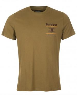 Lehké bavlněné tričko Barbour Reed Tee - Mid Olive