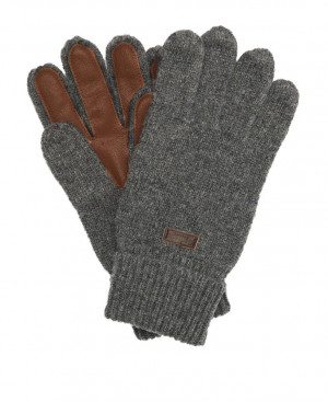 Rukavice Barbour Nairn Leather Trim Gloves - šedé/tmavě hnědé