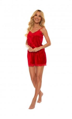Dámské pyžamo De Lafense 613 Milagros w/r S-2XL czerwony