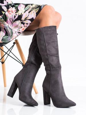 Trendy šedo-stříbrné  kozačky dámské na širokém podpatku