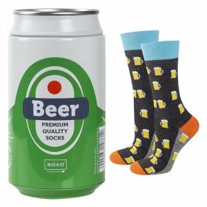 Pánské ponožky SOXO GOOD STUFF Pivo v plechovce SZARY/ŻÓŁTY/ZIELONY 40–45