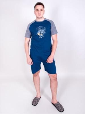 Pánské pyžamo  018 GRANATOWY 2XL