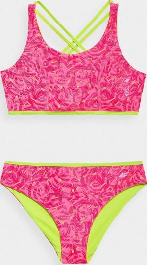 Dívčí plavky 4F JKOS003 barevné multicolour solid 122/128