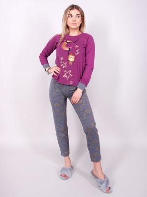 Dámské pyžamo YO! PJ-012 dł/r S-XL purpurová
