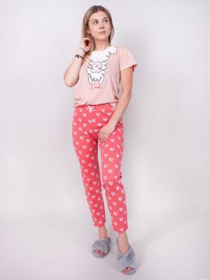 Dámské pyžamo YO! PJ-003 kr/r S-XL pudrowy