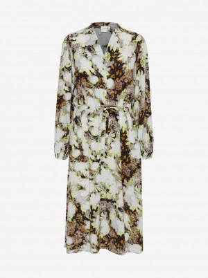 Ichi hnědo-krémové květované šaty se zavazováním