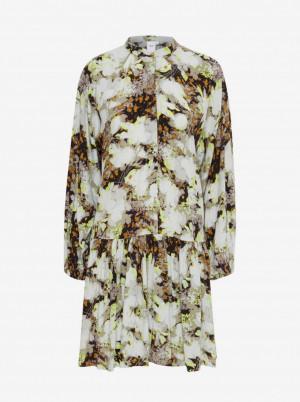 Ichi hnědo-krémové květované šaty