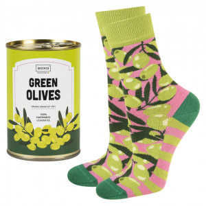 Dámské ponožky SOXO GOOD STUFF Olivy v konzervě ZIELONY/RÓŻOWY 35–40