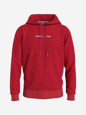 Straight Logo Mikina Tommy Jeans Červená