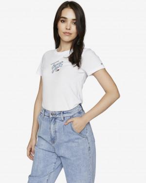 Tommy Hilfiger bílé dámské tričko Skinny Script Tee