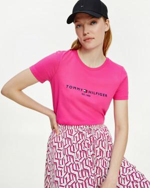 Tommy Hilfiger růžové dámské tričko Essential