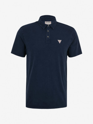 Guess ES SS Eli Jersey Washed Polo triko Modrá