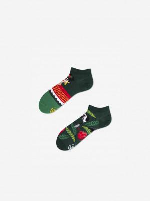 Tmavě zelené unisex vzorované kotníkové ponožky Many Mornings Feel Frida - 35-38