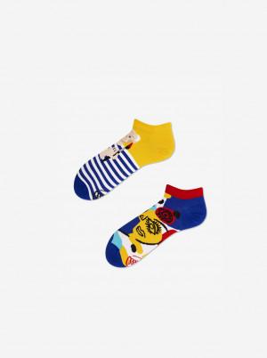 Modro-žluté unisex vzorované kotníkové ponožky Many Mornings Picassocks - 35-38