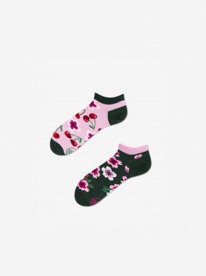 Zeleno-růžové unisex vzorované ponožky Many Mornings Cherry Blossom  - 35-38