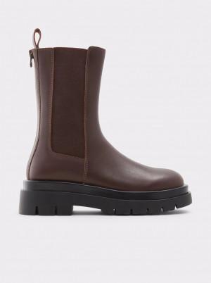 Hnědé dámské kožené kotníkové boty na platformě ALDO Maple -