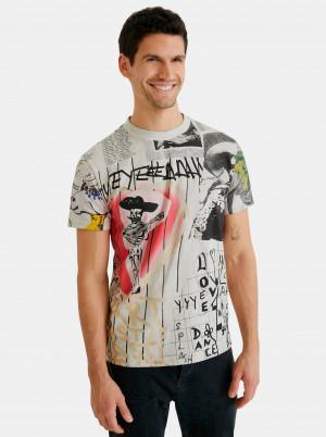 Desigual šedé pánské tričko Mexican Skull
