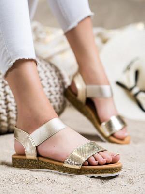 Exkluzívní zlaté dámské  sandály bez podpatku