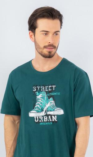 Pánská noční košile s krátkým rukávem Tenisky - Gazzaz tmavě zelená