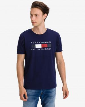Tommy Hilfiger tmavě modré pánské tričko Logo Box Stripe